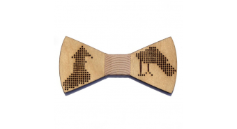 "Wooden Bow Tie ""Brown Birds"""