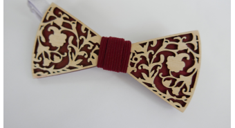 "Wooden bow-tie ""Lace Bordeaux"""