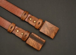 Wood Buckle Leather Belt